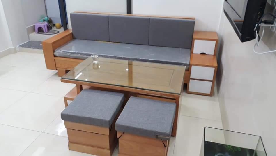 bộ sofa gỗ, bàn ghế gỗ phòng khách tại hà nội kiểu dáng 3 ngăn kéo