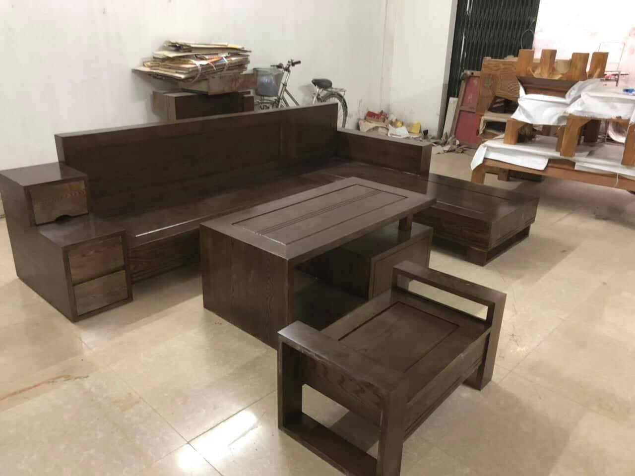 bộ bàn ghế gỗ phòng khách giá rẻ màu óc chó
