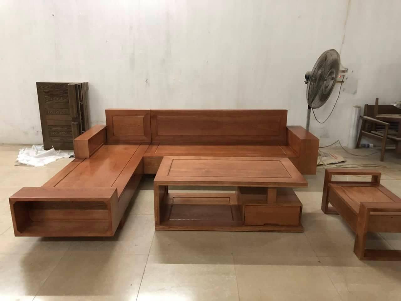 bộ bàn ghế gỗ phòng khách giá rẻ kiểu dáng 3 tay
