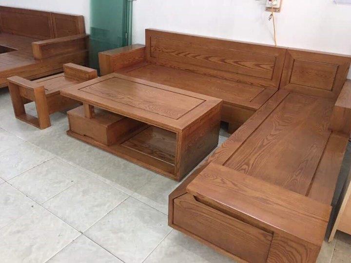 bộ bàn ghế gỗ phòng khách giá rẻ kiểu dáng ngăn kéo đầu