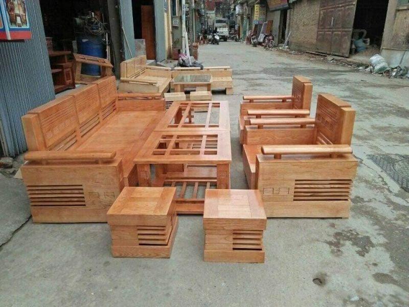 Bộ bàn ghế gỗ phòng khách giá rẻ BG11