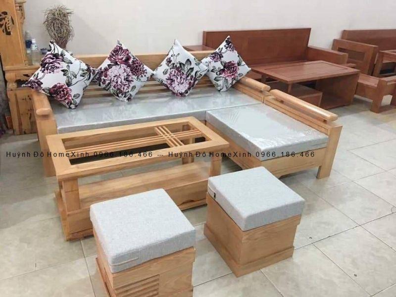 bộ sofa gỗ, bàn ghế gỗ phòng khách kiểu dáng L
